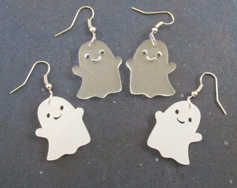 Happy Kawaii Halloween Ghost Dangle Holiday Earrings in White or Clear