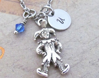 Joker Charm Necklace, Personalized Hand Stamped Initial Birthstone Antique Silver Jester Charm Necklace