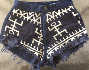 African tribal dogon print jigh waist or low rise shorts