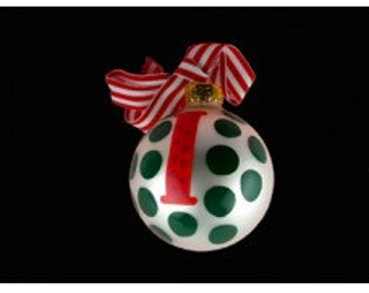 "Coton Pottery Hand Painted ""l"" Polka Dot Ornament"