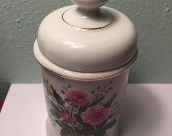 Vintage Ceramic Floral Dish with Lid