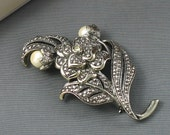 Vintage Kenneth Jay Lane for Avon 'Antique Impressions Pin' Faux Marcasite & Pearl Brooch (1990) original box. Designer Signed Pin.