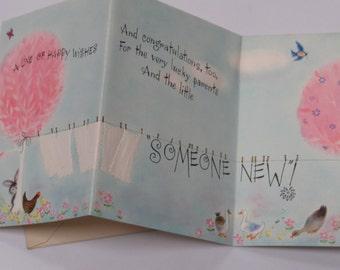 Vintage 50's  ~ Welcome New BABY ~ Hallmark Greeting Card ~ Clothsline