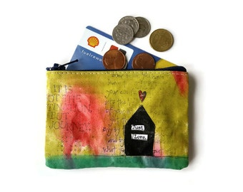 Extra Small Hand Painted Coin Purse, Collage Art Zipper Pouch, JUST LOVE Mixed Media Original Art, House Art, Yellow House Pouch xs20162