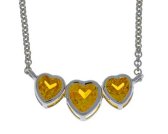 2 Ct Citrine Heart Bezel Pendant .925 Sterling Silver