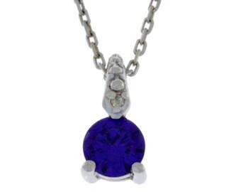Amethyst & Diamond Round Pendant .925 Sterling Silver