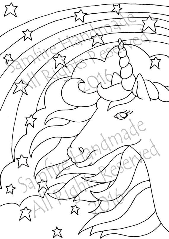 unicorn kleurplaat volwassenen canvas getrokken magic