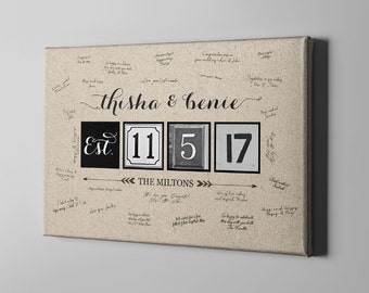 SALE 50% Off Canvas Guest Book, Wedding Kraft Canvas Guest Book, Tree Guest Book Alternative, Unique Gifts for Newlyweds Couple - CGB39