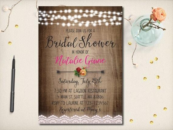 Rustic Romantic Wedding Invitations: Rustic Bridal Shower Invitation Romantic Rustic Lace Floral