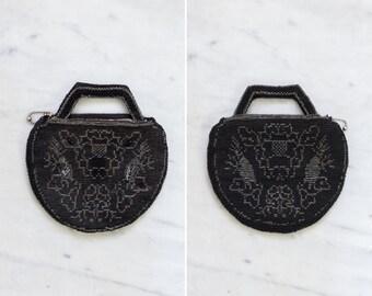 vintage 1930s purse   30s black beaded evening bag   art deco clutch