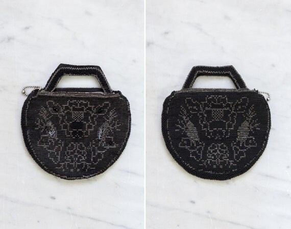 vintage 1930s purse | 30s black beaded evening bag | art deco clutch