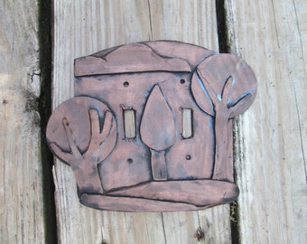 Forest, trees, modern art, Light switchplate cover, resin light switch cover, handmade, one of a kind, hand painted,