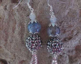Dragon vein moonstone gems disco ball BLING Earrings