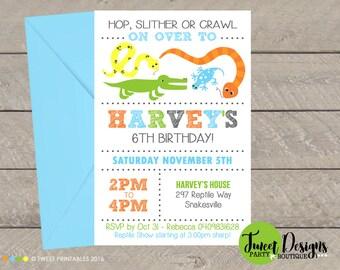 REPTILE BIRTHDAY INVITATION, Printable Reptile invitation, Reptile party invitations, Reptile Party, Boy Invitation, Crocodile Invitation