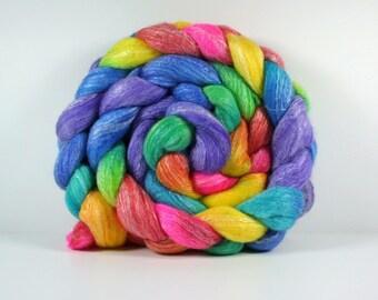 "Rainbow ""Roy G. Biv"" SW Merino/Bamboo 50/50 Spinning Fiber 4oz"