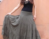 Long Skirt..Long Boho Skirt ....Long Maxi Skirt ..Full Length Skirt..Seaweed Green ....Soft and Floaty