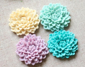 12 pcs of 3 colros of resin chrysanthemum flower 33mm -0481-Mix color