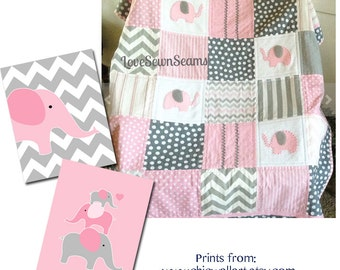 ELEPHANT quilt in PINK white & gray with Minky soft back