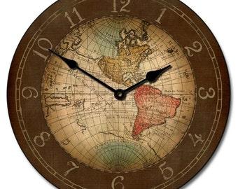 17th Century World Map Wall Clock