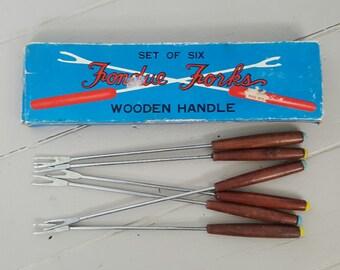 Fondue Forks set of 6 wooden handles