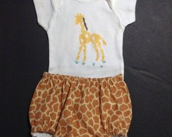 BOYS GIRAFFE diaper cover SET, boys diaper cover, onesie , hand stamped onesie