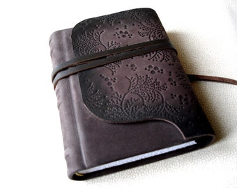 Personalized Leather Writing Journal, Birthday Gift, Dark Brown Embossed Leather, Gift for Girlfriend, Handbound Blank Journal, Hard Cover