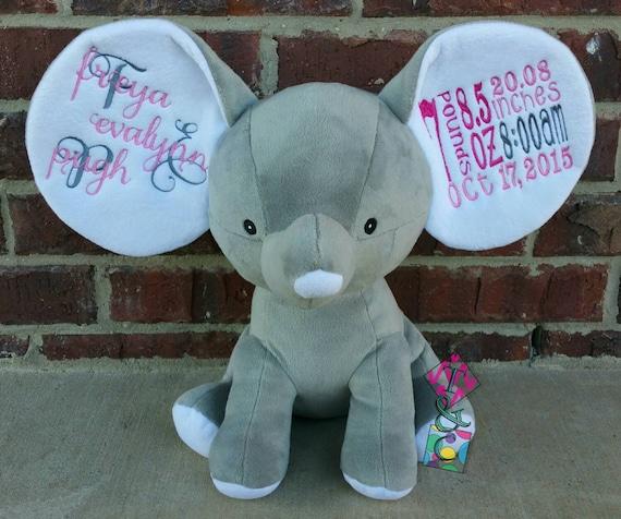 Grey Dumble Elephant Cubbie Personalized Animal Baby