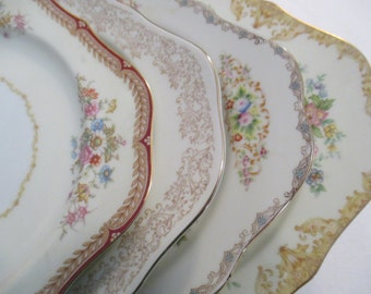 Vintage Mismatched China Square Salad Plates for Weddings,Tea Party,Bridal Luncheons,Showers,Hostess Gift,Bridesmaid Gift - Set of 4