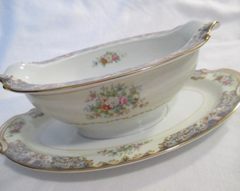 Vintage Noritake China Posy Gravy Boat w/attached Underplate