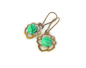 Resin Rose Cabochon earrings