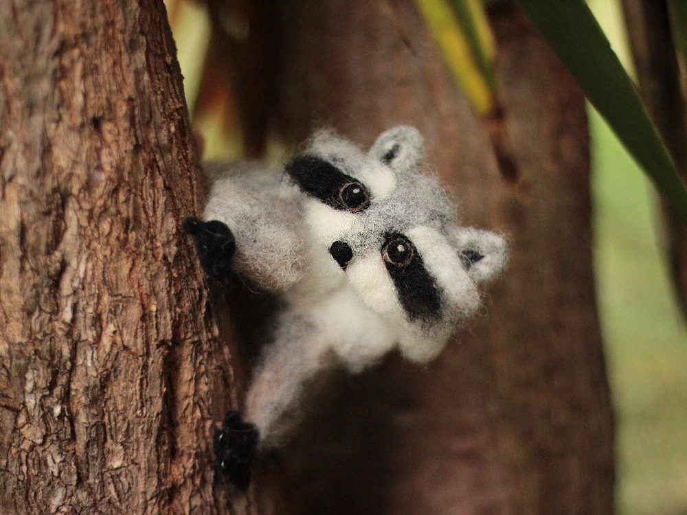 Poseable Needle Felted Raccoon Sculpture Needle By
