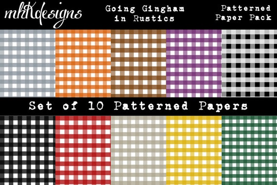Going Gingham in Rustics Digital Paper Pack