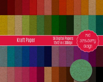 75% OFF Sale - 56 Digital Papers - Kraft Paper - Instant Download - JPG 12x12 (DP277)