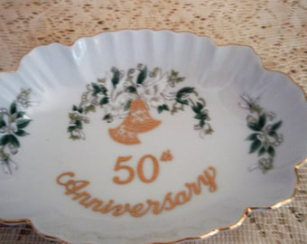 Lefton 50th Anniversary Candy Dish, Lefton #1105, Hand Painted and Made in Japan, Lefton Candy dish, Trinket Dish, ring dish, catchall dish