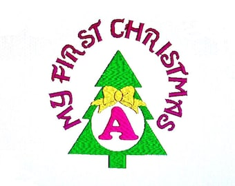 My First Christmas Embroidery Designs, Christmas Tree Bow Monogram. Instant Download Patterns