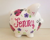 Personalized Hand Painted Piggy Bank With Ladybug Theme