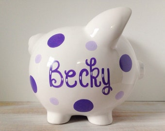 Personalized Ceramic Piggy Bank With Polka Dots