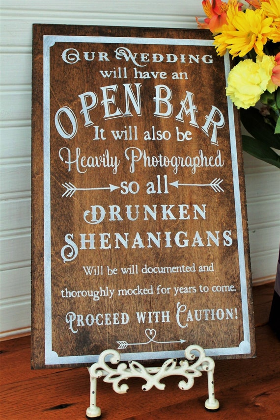 Open Bar Sign Wedding Sign Personalized By Primitiveweddings