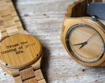 Bamboo wooden Watch / Wristwatch - engraved with personal text - Gift for Him/Her, Anniversary, Wedding gift, Groomsmen / bridesmaid