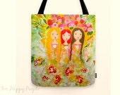 Shopper tote bag canvas art  Sisters Best Friends Colorful Bag Surreal Nature Gifts For Her Market Tote Bag
