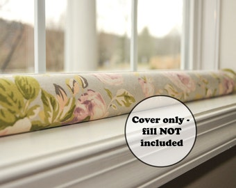 door draft stopper cover, custom length draught excluder sleeve, green window snake, wind light noise blocker, home decor, lilac pink gray