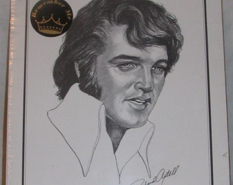 """1977 Remberber Me Elvis Presley Sealed 10""""X13"""" Pencil Ddrawing Portrait ~ Free Shipping USA"""
