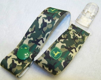 Camo Pacifier Clip, Snap or Universal Pacifier Holder Clip, Binky Clip
