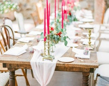 Chiffon Table Runner Custom Colors, romantic table runners, rustic table runner, table runners for  farm tables and weddings, overlay