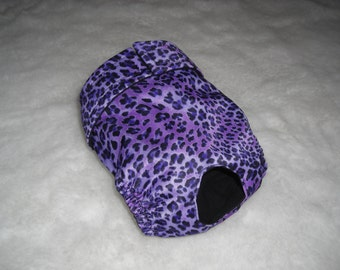 Cat diaper, panty, britches.  Purple cheetah print on waterproof fabric