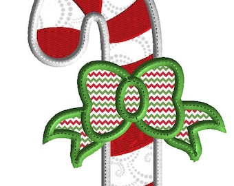 Candy Cane Embroidery Design, 3 size holiday applique for machine embroidery, instant download, holiday design, Christmas embroidery