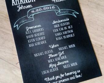 Vintage Typography Chalk Board Wedding Programs