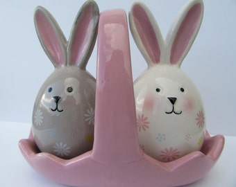 Bunny Salt and Pepper Pots Easter Bunny Cruet Rabbits in a Basket Salt and Pepper Pots