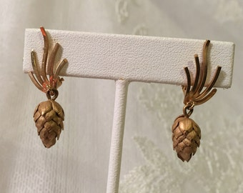Vintage Clip On Earrings 12K GF Pine Cone Drop/Dangle