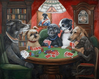 Dogs Playing Poker Canvas Prints, Dogs Playing Cards, Game Room Decor